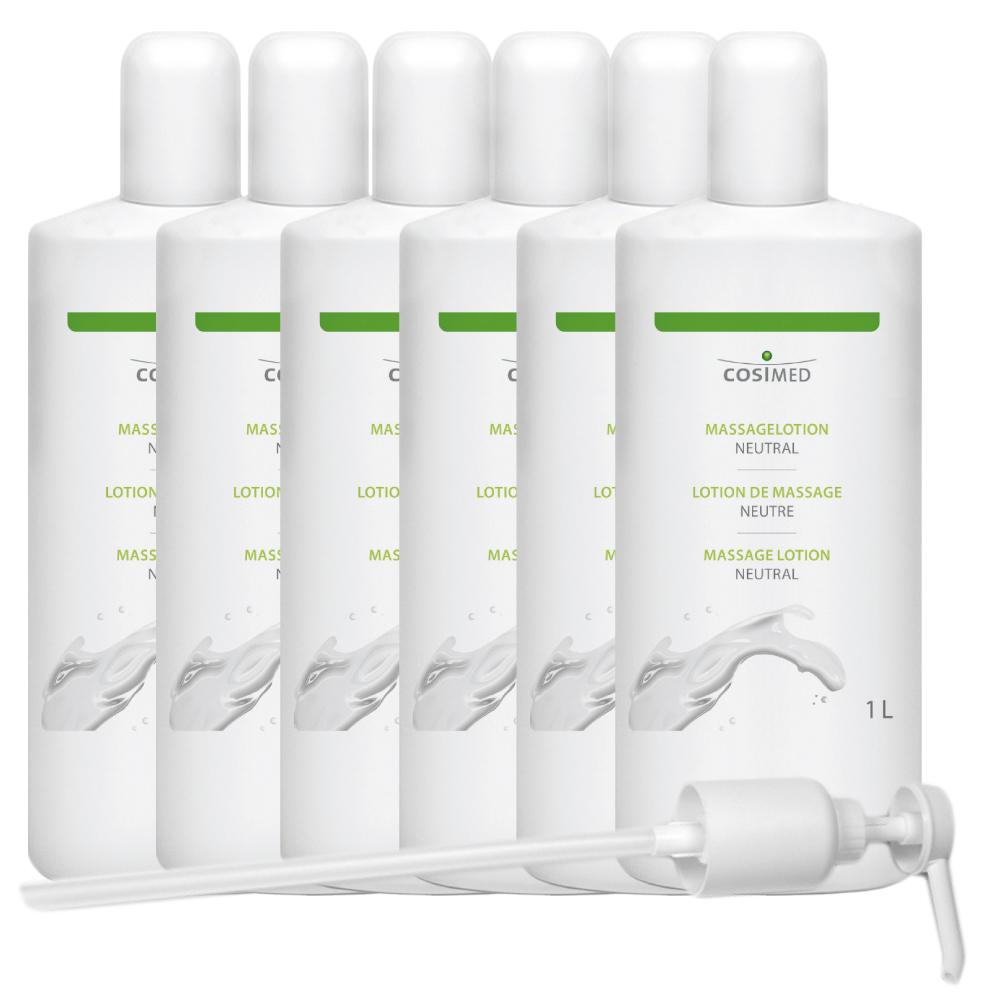 cosiMed Massagelotion neutral Bundle 6 Flaschen á 1 Liter mit Spender