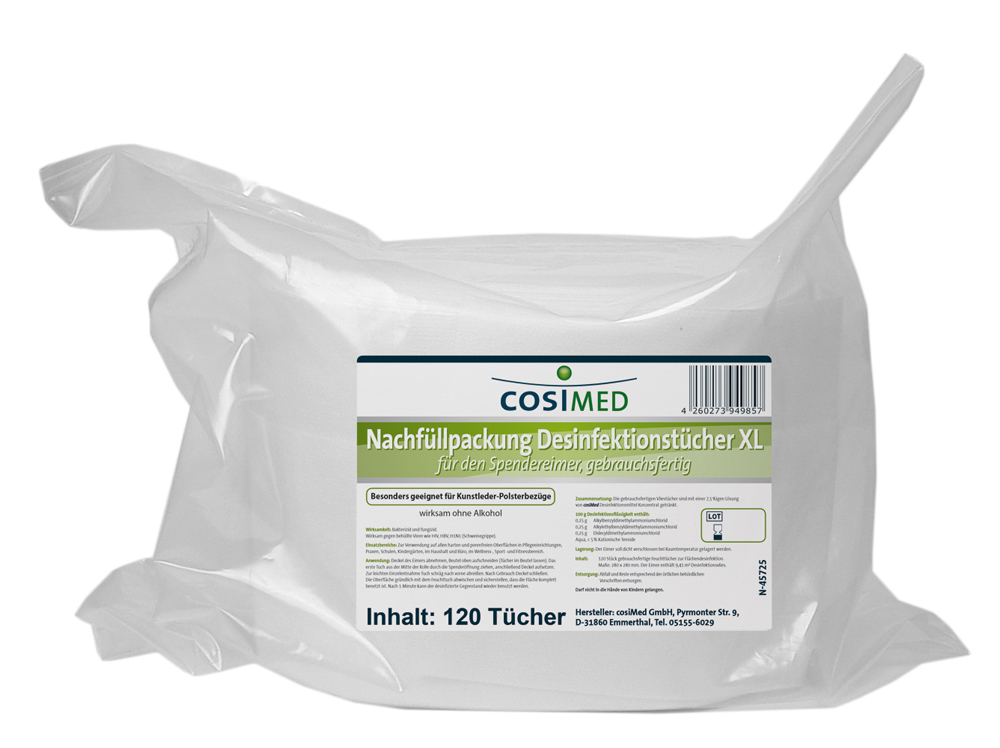 cosiMed Desinfektionstücher XL Nachfüllpack 120 Tücher